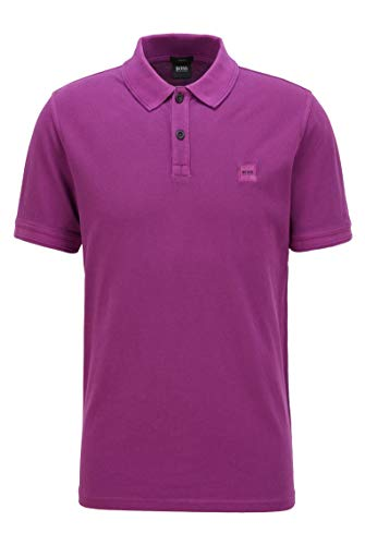 BOSS Mens Prime Washed-Cotton Polo Shirt with Logo Patch