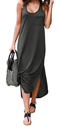 BTFBM Women Long Dress Sleeveless Tank Top Racerback Side Knot Hem Split Plain Maxi Dresses with Pocket (Dark Grey, Medium)