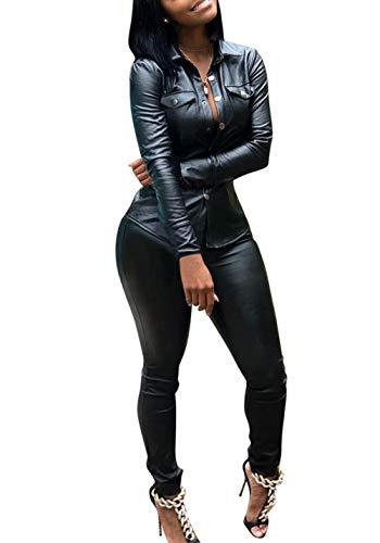Adogirl Faux Leather Shirt Women Button Jacket Bodycon Pants 2 Piece Jumpsuit Black ()