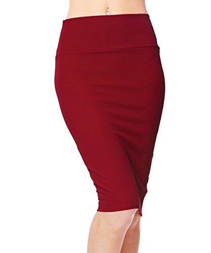 Urban GoCo Femme Midi Jupe Crayon Moulant Elastique avec Taille Haute Bodycon Rouge