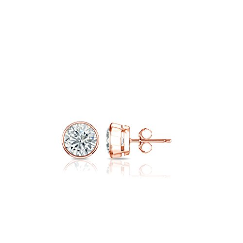 14k Rose Gold Bezel-set Round Diamond Stud Earrings (1/6ct, O.White, - Rose Set Bezel Cut