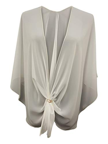 eXcaped Women's Evening Shawl Wrap Sheer Chiffon Open Front Cape and Rose Gold Scarf Ring (Soft Ivory)