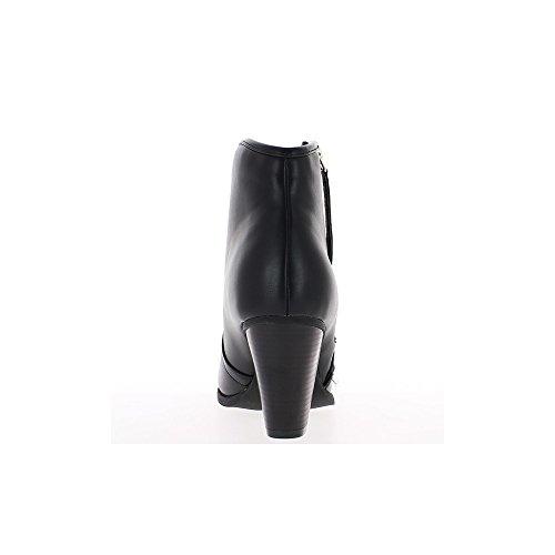 Bottines montantes femme noires doublées à talon de 8cm