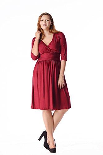 Esprlia Women's Plus Size double V Neck elasticity Bridal Formal Dress 1X-5X (5X, Wine Red) (Renaissance Dress Plus Size)