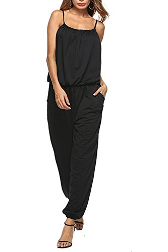 Dreamskull Women's Summer Casual Spaghetti Strap Cotton Jumpsuits Rompers Beach Overalls