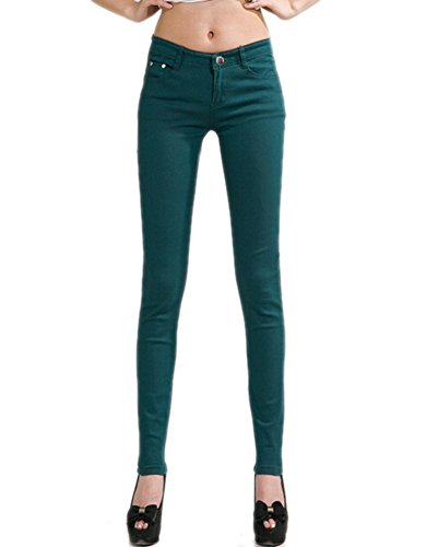 Juniors Stretch Women Skinny Basic Green Fit Dark Leg Jegging Pants Jeans DELEY Solid wq48xaXqF