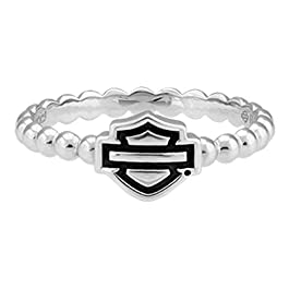 Harley-Davidson Womens Bar & Shield Outline Beaded Stackable Ring Silver HDR0499
