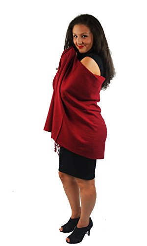 Cashmere Pashmina Group:Pashmina Scarf/Shawl(3-Ply Solid Burgundy Regular Shawl) by Cashmere Pashmina Group