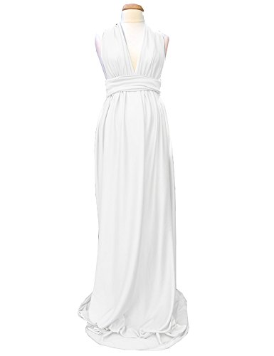 e5ad4d60a2a21 Saslax Jersey Maternity Or Senior Infinity Gown Convertible Maxi Dress For  baby shower White One Size