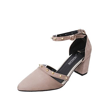 LvYuan sandalias de los zapatos del club de verano al aire libre de la oficina de lana&carrera ocasional grueso del talón del remache de la Black