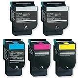 BLACK HAWK Compatible Lexmark 70C10C0 Toner - (5-pack 2-BK,1-CY,1-MG,1-YL) (701C) CS310n CS310dn CS410n CS410dn CS410dtn CS510de CS510dte Toner (1000 Yield)