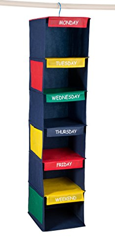 "- Daily Activity Kids Closet Organizer –11"" X 11"" X 48""- Prepare and Organize a Week's Worth of Your Children's Clothing, Shoes and After School Activities. Hangs Directly on the Closet Rod."