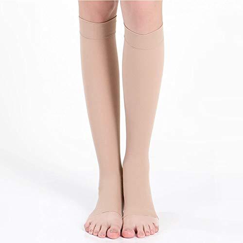 Kingkun Open Toe Compression Socks Calf Sleeves Knee High Stocking Graduated Sports Running Recovery Shin Splints Varicose Veins Argyle Skin Tones by Kingkun (Image #2)