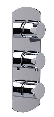 ALFI brand AB4001 Concealed 3-Way Thermostatic Valve Shower Mixer Round Knobs, Polished Chrome