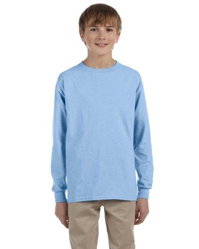 Gildan Ultra Cotton Youth T-shirt (Gildan 2400B- Classic Fit Youth Long Sleeve T-Shirt Ultra Cotton - First Quality - Light Blue - Large)