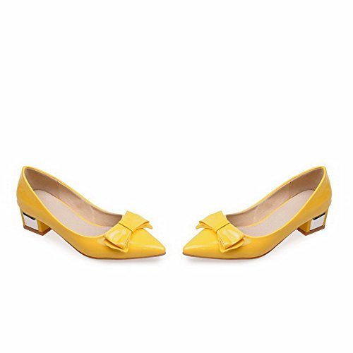 BalaMasa Ladies Bows Pointed-Toe Chunky Heels Patent-Leather Pumps Shoes Yellow VDON819