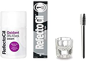 Refectocil KIT - Cream Hair Dye + Creme Oxidant 3% 3.4oz + Mixing Dish + Mascara Brush (Pure Black)