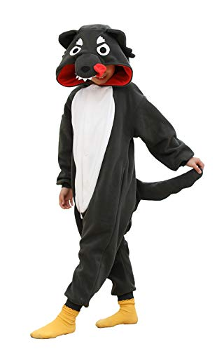 Kids Cuddly Gray Wolf Costume Animal Onesie Pajamas Children -