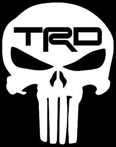 Punisher Skull Toyota TRD Symbol Decal Vinyl Sticker|Cars Trucks Vans Walls Laptop| WHITE |5.5 x 4.25 in|CCI617