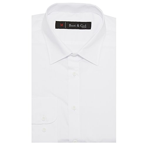 Boot & Cod Men's Classic Solid White Fitted Long Sleeve Button Down Dress Shirt - L (Classic Collar Shirt)