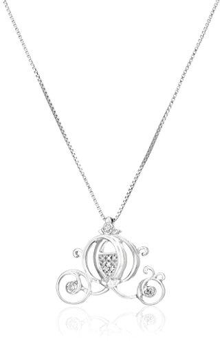 Disney Sterling Silver Diamond Cinderella Carriage Pendant Necklace, - Cinderella Jewelry