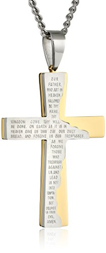 Men's Stainless Steel and Yellow IP Tablet Prayer Cross Pendant Necklace, 24