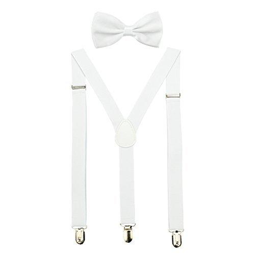 HABIBEE Solid Color Mens Suspender Bow Tie Set Clip On Y Shape Adjustable Braces (White) ()