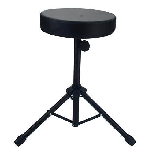 Rainrain27 Drum Throne Folding Percussion Drum Stool Round Seat with Sturdy Tripod Base Foldable Anti-Slip Rubber Feet for Drummer Percussion Keyboard Piano Players