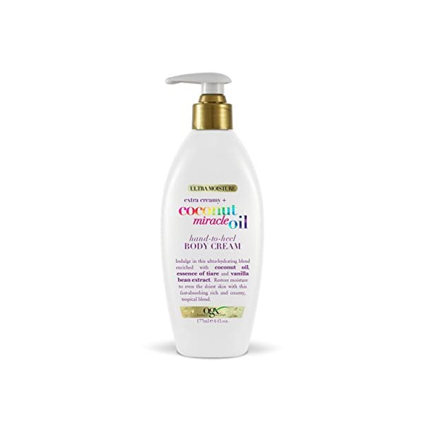 OGX Extra Creamy + Coconut Miracle Oil Hand-to-Heel Body Cream with Vanilla Bean, Fast-Absorbing Body Lotion for Dry…