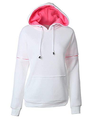 Sweat à les Xx Pocket taille capuche couleur femmes large Zhrui pour blanc Loose wUgTdnqx