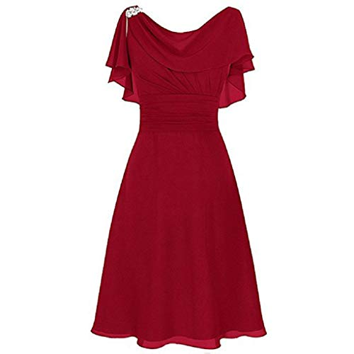 AmyDong Women's Chiffon Off Shoulder High Waist Formal Wedding Bridesmaid Party Ball Prom Gown Cocktail Dress Red
