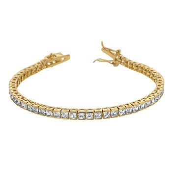 14k Gold Bonded Princess Cut - 14k Gold Bonded 7 Inch Tennis Bracelet with Princess Cut Clear Cubic Zirconia in a Channel Setting and a Box Clasp in Goldtone
