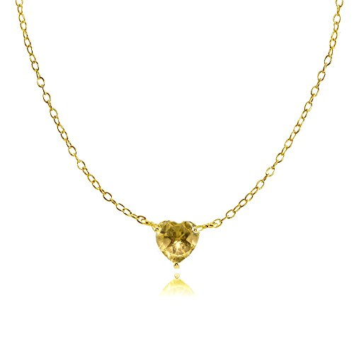 Ice Gems Yellow Gold Flashed Sterling Silver Small Dainty Citrine Heart Choker Necklace