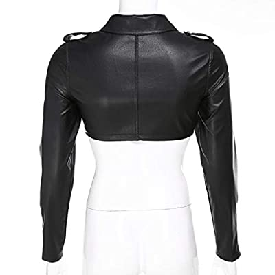 Mikilon Women's Sexy Faux Leather Crop Top Zipper Long Sleeve Midriff Tops Jacket at Women's Coats Shop