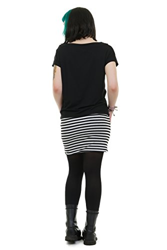 Mini Abito Pixie Con Gonna A Matita E Pipistrello Donna Top Realizzato In Striscia Nera Berlino