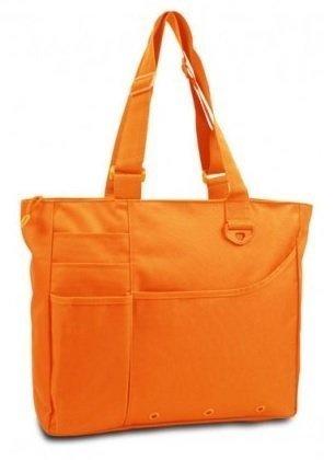 The Spoiled Office Multi Pocket Zipper Tote Bag (Neon Orange) School or Office, Bookbag, College (Multi Pocket Tote)