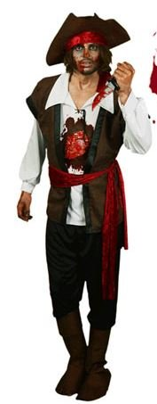 Morphsuits Men's Morphcostume Co Beating Heart Pirate Digital Male Costume, Brown/Black, Medium (How To Dress As A Pirate)