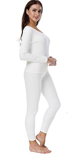 HieasyFit Women's Cotton Thermal Sets 2pcs Underwear Top & Bottom Pajama with Fleece Lined(Ecru XL) by HieasyFit (Image #2)