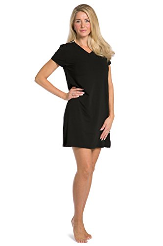 Jersey Nightshirt - Fishers Finery Women's Tranquil Dreams V Neck Nightshirt  Comfort Fit, Black, Large