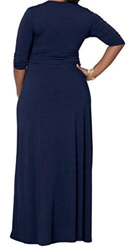 Sleeve Womens Evening Blue Neck Party Maxi 4 V Cross Cromoncent Deep Navy M Dress 3 zt4td
