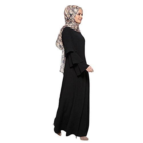 Abaya Musulmane Malaysia Arabo Kaftano Matrimonio Lungo Dubai Oriente Tacchino Cocktail Da Medio Tunica Islamico Xinvision Abbigliamento Nera Sciolto Abito Sera Donne Maxi Vestito Manica Tp55tq