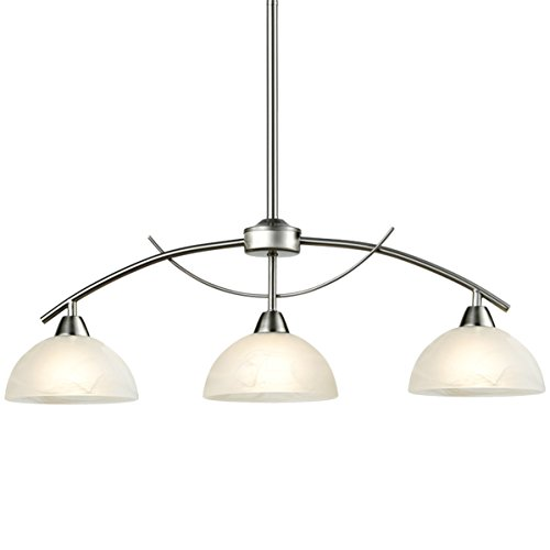 - Dazhuan Modern Frosted Glass Shades Pendant Light Arched Alabaster Chandelier Kitchen Counter Island Hanging Ceiling Lighting, Brushed Nickel, 3-Light