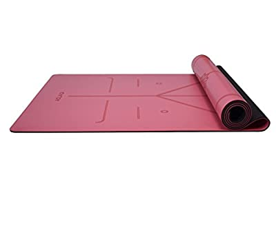 "Rubber Yoga Mat Extra Large Size 72"" x 26.8"" Non Slip High Density Eco-Friendly with Body Alignment System Thickness 5 mm"