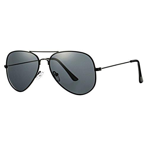 COASION Classic Aviator Sunglasses for Men Women, Polarized Mirror Lens, 100%UV Protection with Leather Case - Black Large Sunglasses Aviator