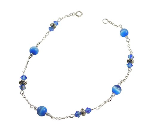 Kit Johnson Designs Fiber Optic Vivid Sky Blue Cat's Eye Anklet 9