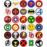 30 x Edible Cupcake Toppers – Superhero Logos Themed Collection of Edible Cake Decorations | Uncut Edible Prints on Wafer Sheet -