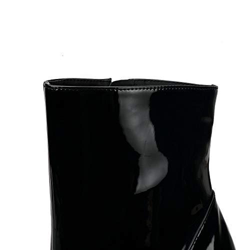 Glissière Latérale shoes Black Talons Imperméable Femmes Tête Hauts Ronde Bottines Plateforme Slim v7BO7wzqW