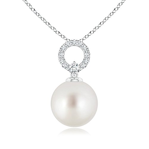 10 Mm Open Diamond (June Birthstone - South Sea Cultured Pearl Drop Pendant Necklace for Women with Diamond Open Circle in Silver (10mm South Sea Cultured Pearl))