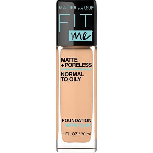 Maybelline Fit Me Matte + Poreless Liquid Foundation Makeup, Nude Beige, 1 fl; oz; Oil-Free Foundation