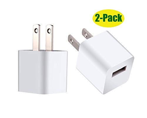 5W Wall Charger Cube 2 Pack Power Adapter Plug USB Charging Block for All iPhones,iPad Mini 2/3/4,iPod Touch(2-Pack)
